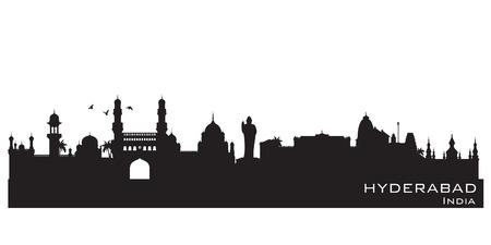 Hyderabad India skyline Detailed vector silhouette