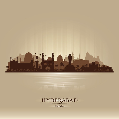 Hyderabad India city skyline vector silhouette illustration Ilustração