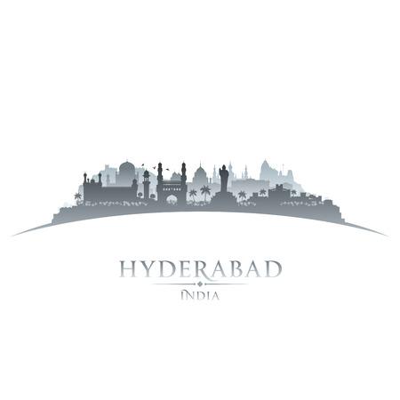 sky scraper: Hyderabad India city skyline silhouette. Vector illustration Illustration