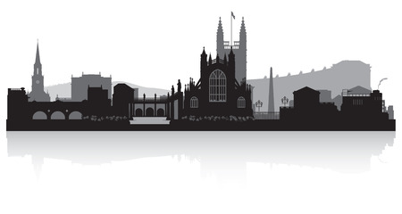 bath: Bath city skyline silhouette vector illustration