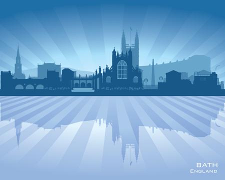 sky scraper: Bath England skyline with reflection in water