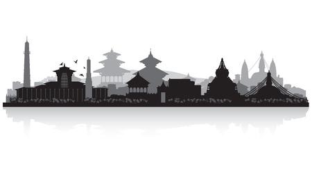 カトマンズ ネパール都市スカイライン ベクトル シルエット イラスト  イラスト・ベクター素材