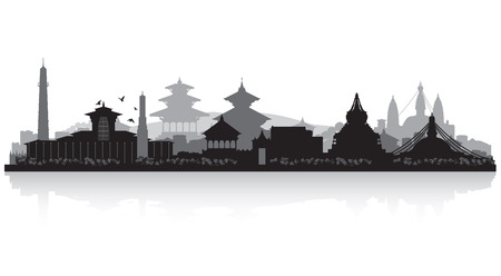 waterfront: Kathmandu Nepal  city skyline vector silhouette illustration
