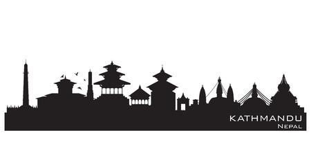 kathmandu: Kathmandu Nepal  skyline Detailed vector silhouette