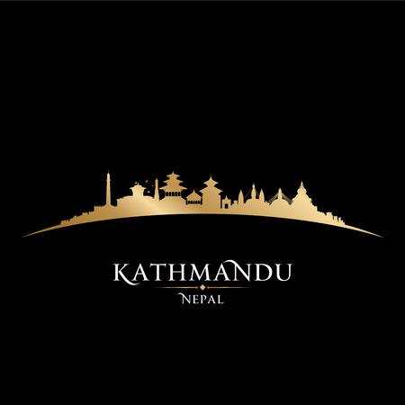 kathmandu: Kathmandu Nepal  city skyline silhouette. Vector illustration
