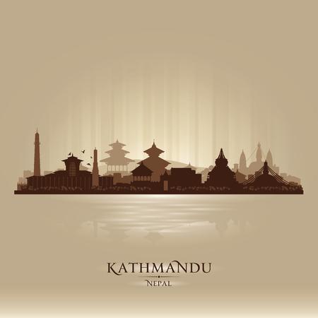 kathmandu: Kathmandu Nepal  city skyline vector silhouette illustration