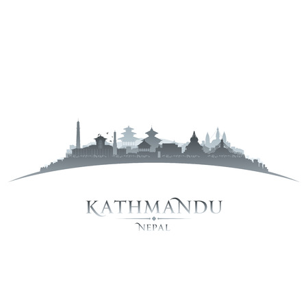 sky scraper: Kathmandu Nepal  city skyline silhouette. Vector illustration