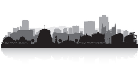 cityscape: Wellington New Zealand city skyline vector silhouette illustration