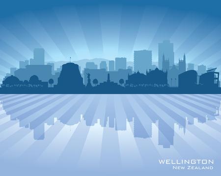 oceania: Wellington New Zealand city skyline vector silhouette illustration