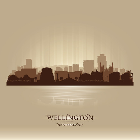 sky scraper: Wellington New Zealand city skyline vector silhouette illustration