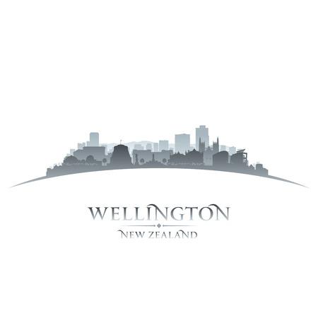 sky scrapers: Wellington New Zealand city skyline silhouette. Vector illustration Illustration