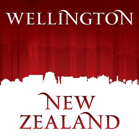 wellington: Wellington New Zealand city skyline silhouette. Vector illustration Illustration