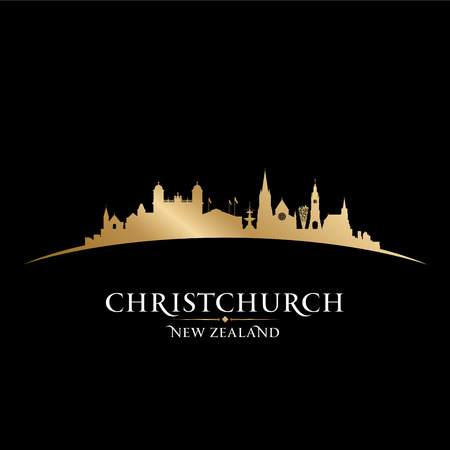 sky scraper: Christchurch New Zealand city skyline silhouette. Vector illustration