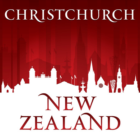 Christchurch New Zealand city skyline silhouette. Vector illustration
