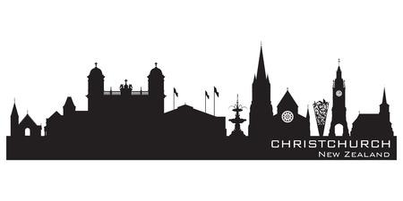 new zealand landscape: Christchurch New Zealand skyline Detailed vector silhouette