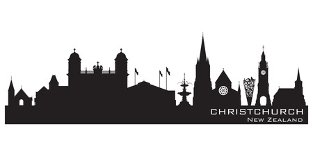 Christchurch New Zealand skyline Detailed vector silhouette