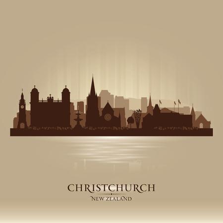 sky scraper: Christchurch New Zealand city skyline vector silhouette illustration Illustration