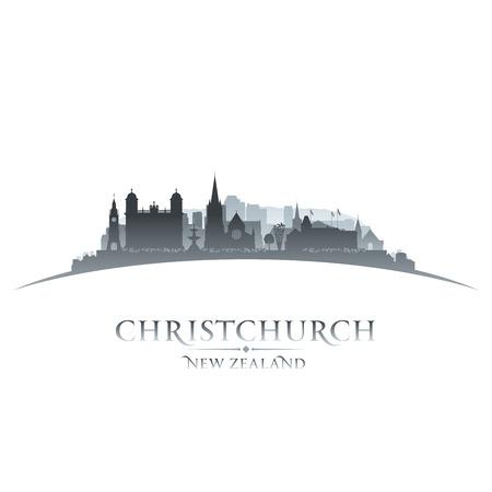 christchurch: Christchurch New Zealand city skyline silhouette. Vector illustration