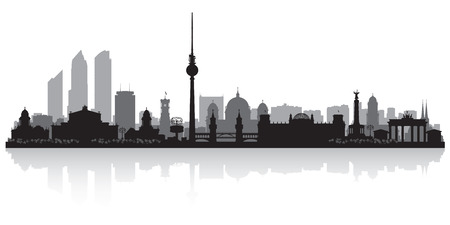 europe cities: Berlin Germany city skyline vector silhouette illustration