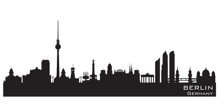 Berlin Germany skyline Detailed vector silhouette Фото со стока - 43190625