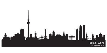 outlook: Berlin Germany skyline Detailed vector silhouette