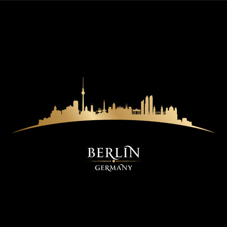 europe cities: Berlin Germany city skyline silhouette. Vector illustration Illustration