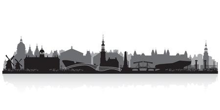 Amsterdam Netherlands city skyline vector silhouette illustration
