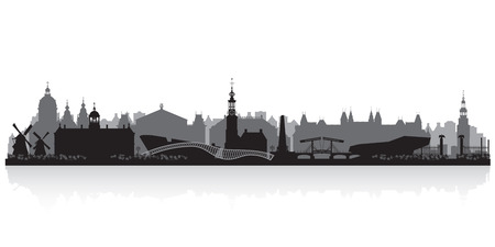 Amsterdam Netherlands city skyline vector silhouette illustration Reklamní fotografie - 43261332