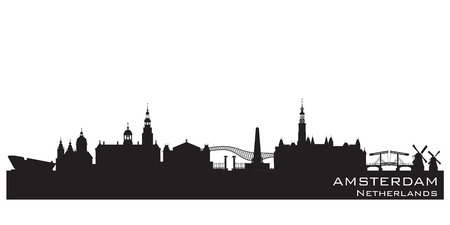 Amsterdam Netherlands skyline Detailed vector silhouette