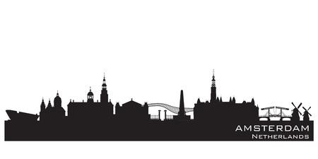 Amsterdam Netherlands skyline Detailed vector silhouette Illustration