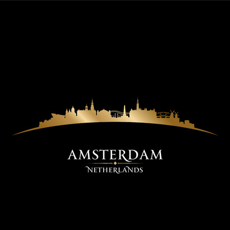 gold coast: Amsterdam Netherlands city skyline silhouette. Vector illustration