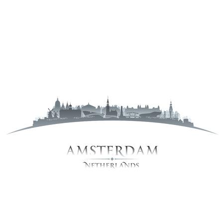 Amsterdam Netherlands city skyline silhouette. Vector illustration