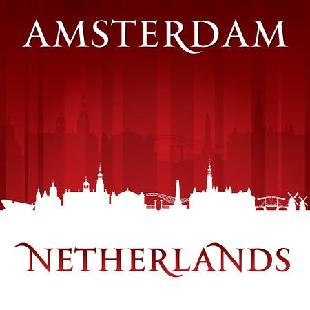netherlands: Amsterdam Netherlands city skyline silhouette. Vector illustration