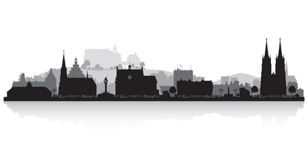 office building: Marburg Germany city skyline vector silhouette illustration