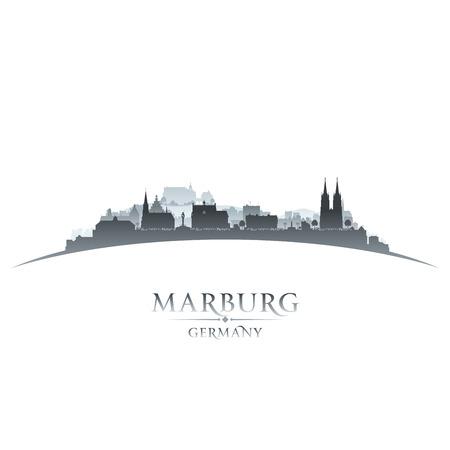 sky scraper: Marburg Germany city skyline silhouette. Vector illustration