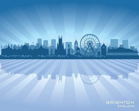 inglaterra: Skyline Brighton Inglaterra com reflexo na �gua Ilustra��o
