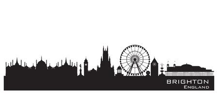 Brighton Engeland skyline. Gedetailleerde silhouet. Vector illustratie