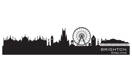Brighton England skyline. Detailed silhouette. Vector illustration