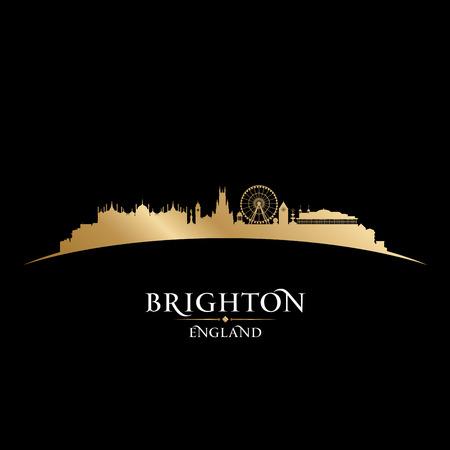 sky scrapers: Brighton England city skyline silhouette. Vector illustration