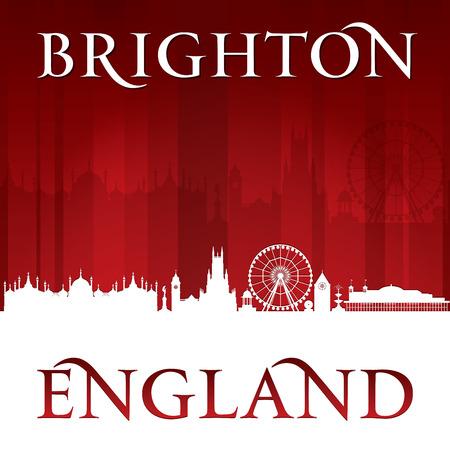 uk: Brighton England city skyline silhouette. Vector illustration