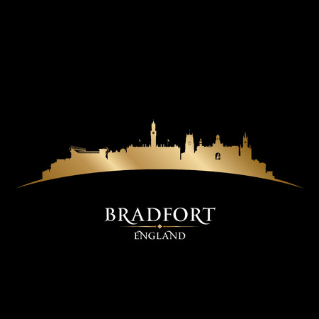 skyline city: Bradfort England city skyline silhouette. Vector illustration