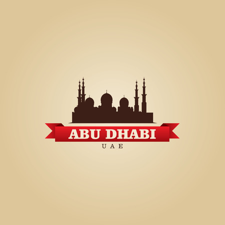 brown background: Abu Dhabi UAE city symbol vector illustration