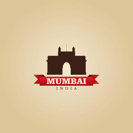 india city: Mumbai in India citt� illustrazione simbolo