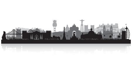 Lisbon Portugal city skyline vector silhouette illustration