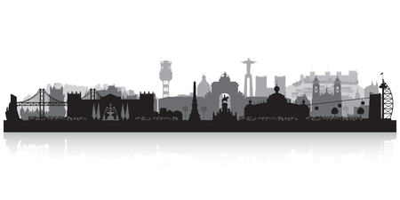 Lissabon Portugal skyline vector silhouet illustratie Stock Illustratie