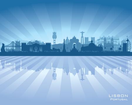 lisbon: Lisbon Portugal city skyline vector silhouette illustration