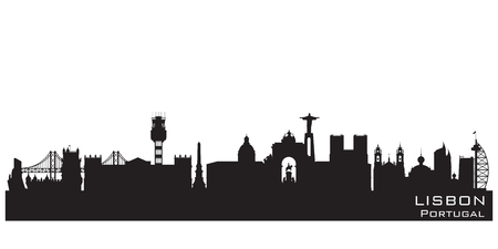 Lisbon Portugal skyline Detailed vector silhouette Ilustracja