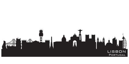 Lisbon Portugal skyline Detailed vector silhouette Vettoriali
