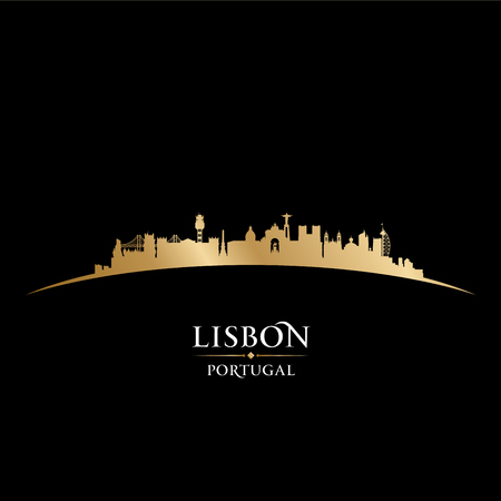 Lisbon Portugal city skyline silhouette. Vector illustration