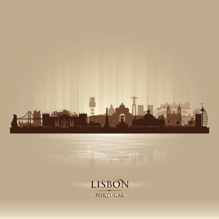 portugal: Lisbon Portugal city skyline vector silhouette illustration